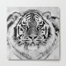 Black and White Tiger Mixed Media Digital Art Metal Print