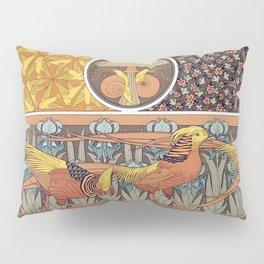 Oiseaux jeu de fond Escargots et champignon Coccinelles et capillaires etoffe Faisan dores et iris b Pillow Sham