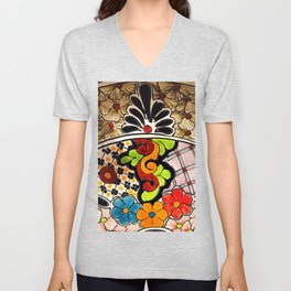 Beautiful Red and Green Talavera Unisex V-Neck