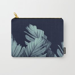 Navy Blue Banana Leaves Dream #1 #tropical #decor #art #society6 Carry-All Pouch
