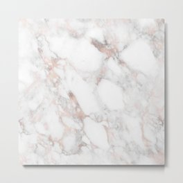 Rose Gold Marble Blush Pink Metallic Foil Metal Print