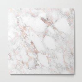 Rose Gold Marble Blush Pink Metallic Foil Metal Print