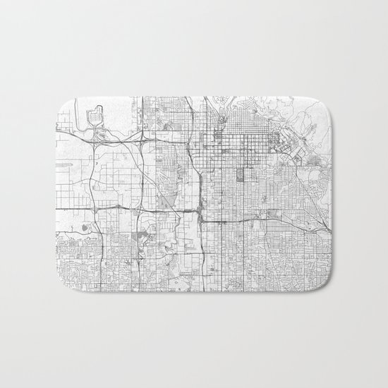 Salt Lake City Map Line Bath Mat