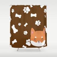 shiba Shower Curtains featuring PupPrints - Shiba Inu by caro.di