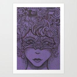Zentangled woman Art Print