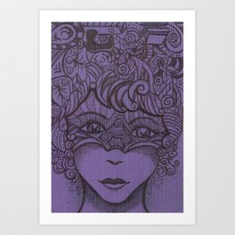 Zentangled woman Art Print