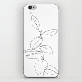 One line minimal plant leaves drawing - Berry iPhone Skin