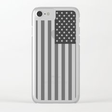 Black and White US Flag, High Quality Image Clear iPhone Case