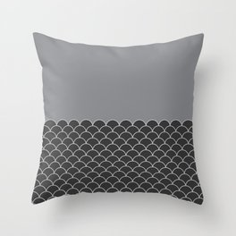 Fish Scales (Dark Charcoal, Sharkskin Grey) Throw Pillow