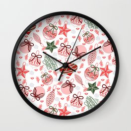 Colorful Christmas Ornaments Wall Clock