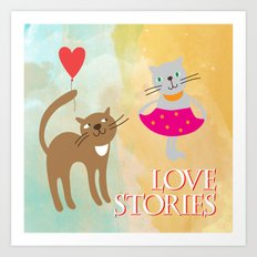 Cats - love stories Art Print