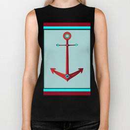 An Anchor in Maroon and Sea Foam Blue, Nautical Biker Tank