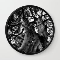 muscle Wall Clocks featuring Muscle Tree by Amy Timbs