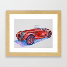 Classic red old car with purple shadow Framed Art Print