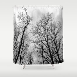 Creepy black and white trees Shower Curtain