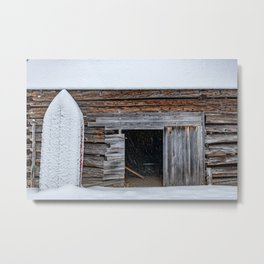 Winter Storage for a fishing boat near the barn in Hibernation Metal Print