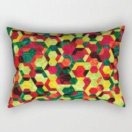 Colorful Half Hexagons Pattern #05 Rectangular Pillow