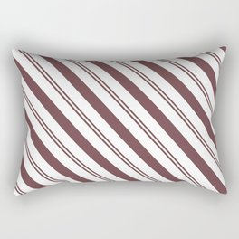 Pantone Red Pear and White Stripes Angled Lines Rectangular Pillow