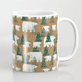 Polar Bears in the Forest - Dark Green Coffee Mug