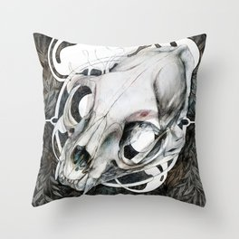 Cat skull at the woods Throw Pillow