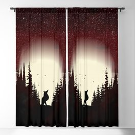 Red Forest Fox Blackout Curtain