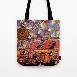 Uluru (Ayers Rock) Authentic Aboriginal Art Tote Bag