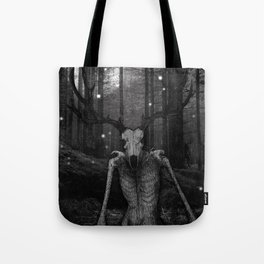 Wendigo Black and White Illustration Tote Bag