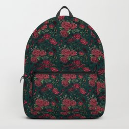 Project 413 | Cottage Rose on Dark Teal Green Backpack