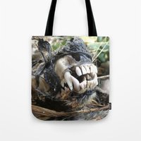 animal skull Tote Bags featuring Animal Skull by CJ Thornburg