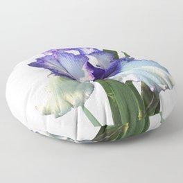 Iris 'Freedom Song' on white Floor Pillow