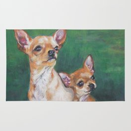 Chihuahua Fine Art Dog Painting from an original painting by L.A.Shepard Rug