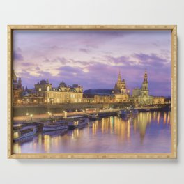 Dresden skyline and River Elbe at dusk Serving Tray