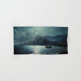 Shipping in a bay by Moonlight - Attributed to Ivan Aivazovsky Hand & Bath Towel