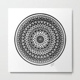 Black White Mandala Art in Ink Metal Print