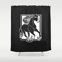 Black and White Shire Horse Art Shower Curtain