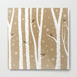 Birch Forest - Winter Idyll Metal Print