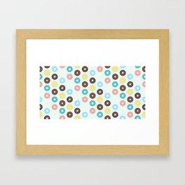 Donuts — Blue Background Framed Art Print