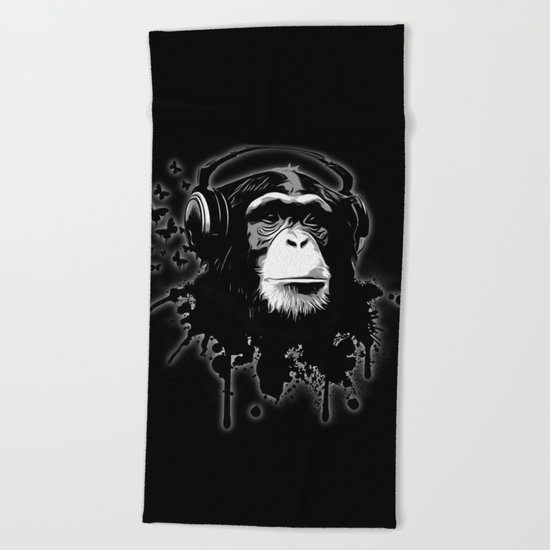 Monkey Business - Black Beach Towel