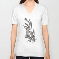 data V-neck T-shirts featuring Data Fish by Samantha Witherford