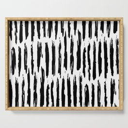 Vertical Dash Black and White Paint Stripes Serving Tray