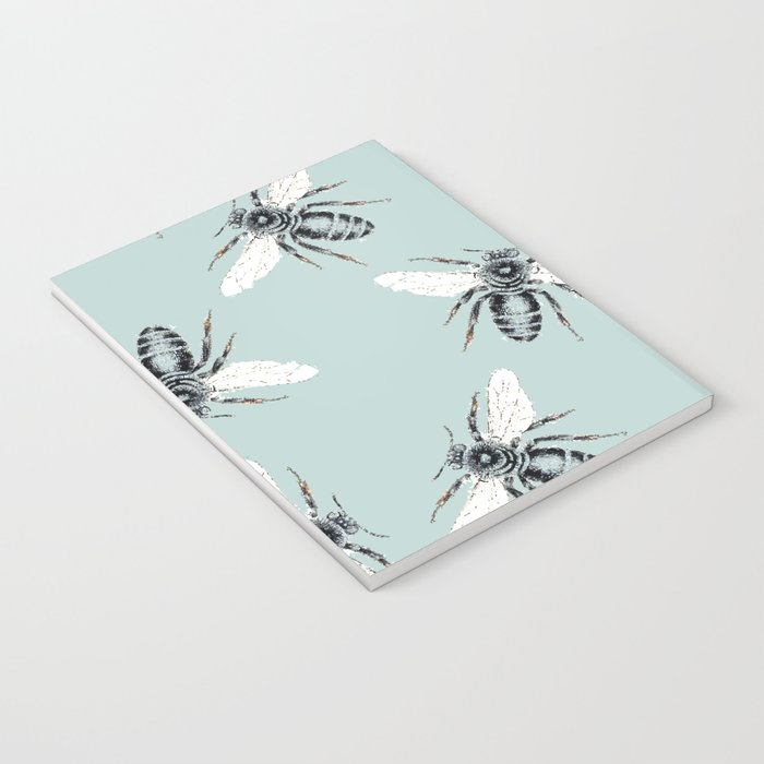 bees on blue Notebook