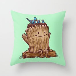 Good Day Log's Bird Nest Throw Pillow