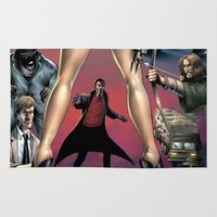 robin hood Area & Throw Rugs featuring Dracula vs. Robin Hood vs. Jekyll & Hyde by Eco Comics
