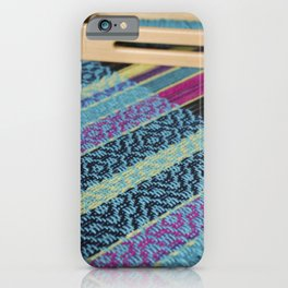 Striped point twill, turquoise iPhone Case