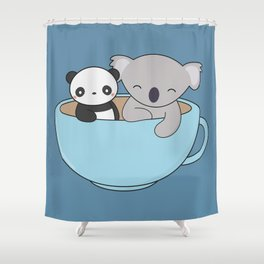 Kawaii Cute Koala and Panda Shower Curtain