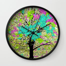 TREES PINK AND GREEN ABSTRACT Wall Clock