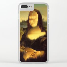 Mona Lisa Glitch Clear iPhone Case
