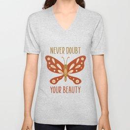 Boho Butterfly Never Doubt Your Beauty Unisex V-Neck