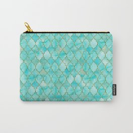 Luxury Aqua Teal and Gold oriental quatrefoil pattern Carry-All Pouch