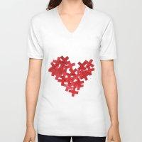 medicine V-neck T-shirts featuring medicine heart by bugo